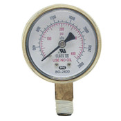 Best Welds Replacement Gauge, 2-1/2 in, 400 psi, Brass, 1/4 in NPT, 1 EA