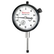 L.S. Starrett 25 Series AGD Group 2 Dial Indicators, 0-100 Dial, 1 in Range, w/Stem Cap, 1 EA, #53295