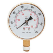 Best Welds Replacement Gauge, 2-1/2 in, 100 psi, Brass, 1/4 in NPT, 1 EA