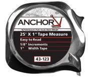 Anchor Products Easy to Read Tape Measures, 1 in x 25 ft, Chrome, 1 EA