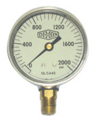 Dixon Valve 2 1/2 in Liquid Filled Gauge, 2,000 psi, Stainless Steel, 1/4 in NPT(M), 1 EA