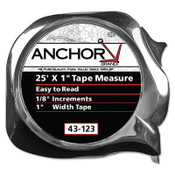 Anchor Products Easy to Read Tape Measures, 1 in x 25 ft, Yellow, 1 EA