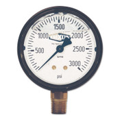 Dixon Valve Brass Liquid Filled Gauges, 0 to 1500 psi, 1/4 in NPT(M), Bottom Mount, 3 BOX, #GLBR1500