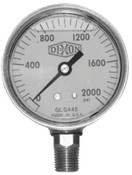 Dixon Valve 4 in Brass Liquid Filled Gauge, 600 psi, Brass, 1/2 in NPT(M), 3 BOX