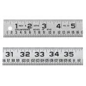 Apex Tool Group Tinner's Steel Circumference Rules, 1 1/4 in x 4 ft, Steel, 1 EA, #954FTN