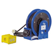Coxreels PC10 Series Power Cord Reels, 12/3 AWG, 20 A, 30 ft, Quad Box Receptacle, 1 EA, #PC103012B