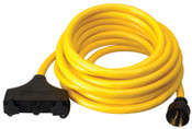 CCI Generator Extension Cord, 25 ft, 3 Outlets, 20 Amp, 1 EA, #19110002