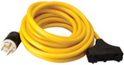 CCI Generator Extension Cord, 25 ft, 3 Outlets, 30 Amp, 1 EA, #19120002