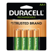 Duracell Pre-Charged Rechargeable Batteries, NiMH, AA, 1.2 V, 4 EA/PK, 1 PK, #DURNLAA4BCD
