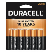 Duracell CopperTop Batteries, DuraLock Power Preserve Alkaline, 1.5 V, AA, 10 CD, #DURMN1500B10Z