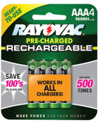 Rayovac Platinum Pre-Charged Rechargeable Batteries, NiMH, AAA, 6 EA, #LD7244OPGEND