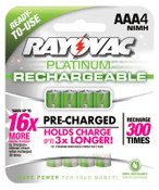 Rayovac Platinum Pre-Charged Rechargeable Batteries, NiMH, AAA, 6 CA, #PL7244GENB