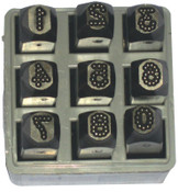 C.H. Hanson Low Stress Dot Design Steel Hand Stamp Sets, 1/4 in, 0 thru 8; A thru Z, 1/SET