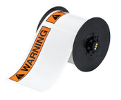 "Brady BBP31 Indoor/Outdoor Vinyl Tapes, 6 in, ""Warning"", Black/Orange, 1/RL, #B3025595ANSIWA"