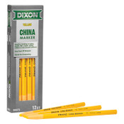 Dixon Ticonderoga Phano China Marker, Yellow, 1/2 in Tip, Peel-Away Wrapper, 12/DOZ, #73
