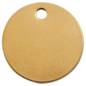 C.H. Hanson Brass Tags, 18 gauge, 1 in Diameter, 3/16 in Hole, Round, 100/BAG, #1078B