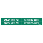 """Brady Medical Gas Pipe Markers, Oxygen 50-55 PSI, White on Green Vinyl, 1 1/8"""" x 7"""", 1/CG"""