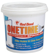 Red Devil ONETIME Lightweight Spackling, 1 Quart Tub, Bright White, 6/CS