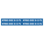 """Brady Medical Gas Pipe Markers, Nitrous Oxide 50-55 PSI, White on Blue, 1 1/8"""" x 7"""", 1/CG"""