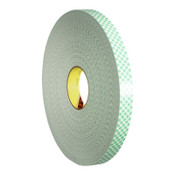 3M Double Coated Urethane Foam Tapes, 3/4 in x 72 yd, 62.5 mil, Green, 12/CA