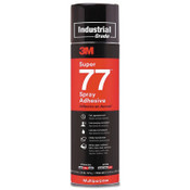 3M Super 77™ Mult-Purpose Spray Adhesive, 16.75 oz Aerosol Can, Clear, 12/CA