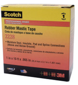 3M Scotch Rubber Mastic Tapes 2228, 2 in x 10 ft, 65 mil, Black, 1/ROL, #7000005986