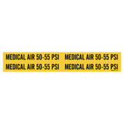 """Brady Medical Gas Pipe Markers, Medical Air 50-55 PSI, Black on Yellow, 1 1/8"""" x 7"""", 1/CG"""