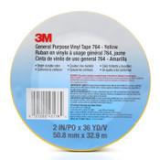 3M General Purpose Vinyl Tapes 764, 2 in x 36 yd, 5 mil, Yellow, 1/RL