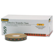 3M Scotch A.T.G. Adhesive Transfer Tape 969, 3/4 in x 18 yd, 5 mil, Clear, 48/CA