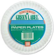 """AJM (BAG/100) 9"""" WHITE PAPER PLATES GRE, 10/CA, #AJMPP9GREWH"""