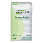 MARCAL PRO 100% Recycled Beverage Napkins, 1-Ply, 9 3/4 x 9 1/2, White, 1 PK, #MRC28CT