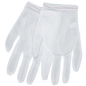 MCR Safety Low Lint Inspectors Gloves, Medium, White, Nylon, 12 Pair, #8700M