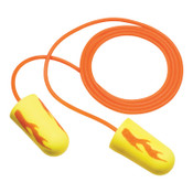 3M E-A-Rsoft Yellow Neon Blasts Foam Earplugs VP311-1252, Polyurethane, Orange/Yellow, Corded, 5/PK, #7000148546