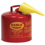 Eagle Mfg Type l Safety Cans, Gas, 5 gal, Red, Funnel, 1/CN, #UI50FS