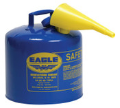 Eagle Mfg Type l Safety Cans, Kerosene, 5 gal, Blue, Funnel, 1/EA, #UI50FSB