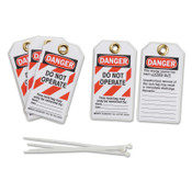 BRADY Lockout Tags, 3 in x 5 3/4 in x 0.0252 in, Danger Do Not Operate This Lock, Red, 5/PK, #103541