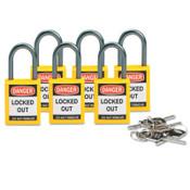 Brady Compact Safety Locks,  1 1/5 in W x 5/8 L in x 1 2/5 H, Yellow, 6/Pk, 1/PK, #118930