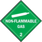 Brady Vehicle Placards, Non-Flammable Gas, Green Background/White Text, 1/EA, #63407