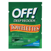 Diversey OFF! Deep Woods Insect Repellent Towellettes, 0.123 oz Packet, 144/CA, #SJN611072