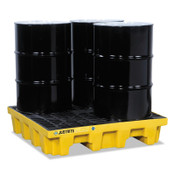 Justrite EcoPolyBlend Spill Control Pallets, Yellow, 73 gal, 49 in x 49 in, W/Drain, 1/EA, #28636