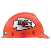 MSA Officially-Licensed NFL V-Gard Helmets, 1-Touch, Kansas City Chiefs Logo, 1/EA, #818398