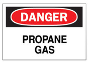 Brady Chemical & Hazardous Material Signs, Danger, Propane, White/Red/Black, 1/EA, #22341
