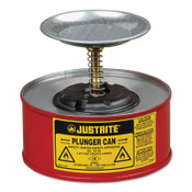 Justrite Plunger Cans, Hazardous Liquid Storage Can, 1 qt, Red, 1/CAN, #10108