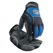 Caiman Synthetic Leather Palm Gloves, Medium, Blue/Black, 6/BX, #2950M