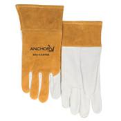 Anchor Products MIG/TIG Welding Gloves, Goatskin; Split Cowhide, Medium, White, 1/PR, #115TIGM