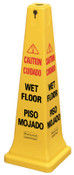 "Newell Rubbermaid™ Safety Cones, Multi-Lingual ""Wet Floor"", 36 in, Yellow, 1/EA, #627677YEL"