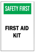 Brady First Aid Signs, Safety First, First Aid Kit, White/Red/Black, 1/EA, #41208