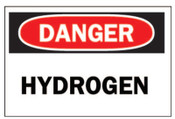 Brady Chemical & Hazardous Material Signs, Danger/Hydrogen, White/Red/Black, 1/EA, #25451