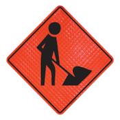 Cortina Workers Symbol Signs, Men Working, Orange, 48 in L, 1/EA, #078004027L