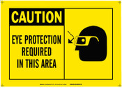 Brady Alert Signs, Caution, Eye Protection Required In This Area, Yellow/Black, 1/EA, #26572
